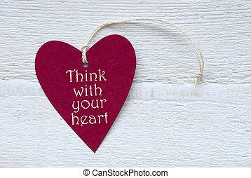corazón, su, pensar, rojo, etiqueta