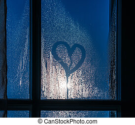corazón, sudoroso, luz de la luna, vidrio, por, ventana.