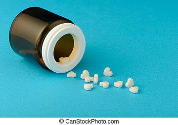 corazón, tabletas, forma