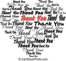 corazón, tagcloud, agradecer, -, forma, usted