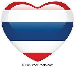 corazón, tailandia, botón, bandera, brillante