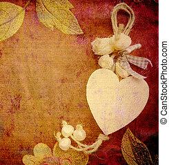 corazón, tarjeta, plano de fondo, vendimia