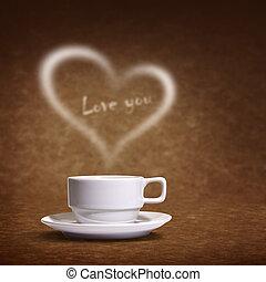corazón, taza para café, formado