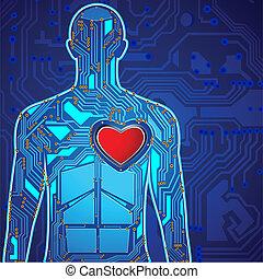 corazón, tecnología, humano