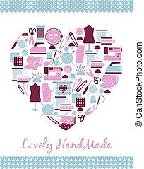 corazón, tejido de punto, handmade., costura, señal, forma, encantador