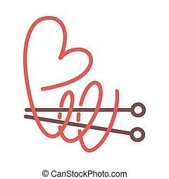 corazón, tejido de punto, hilo, largo, agujas, rizado