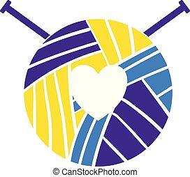 corazón, tejido de punto, logotype, hilo, aprendizaje, logotipo, lana