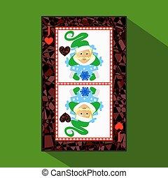 corazón, tela, año, design., card., aplicación, registro,...