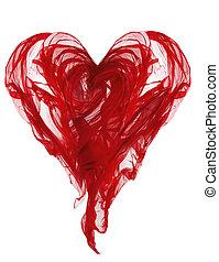 corazón, tela, vuelo, pliegues, ondulación, forma, textil, ...