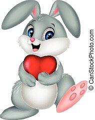 corazón, tenencia, conejo, caricatura, rojo
