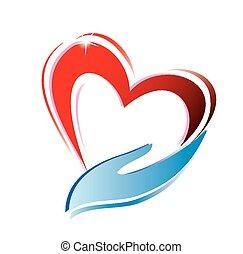 corazón, tenencia de la mano, icono