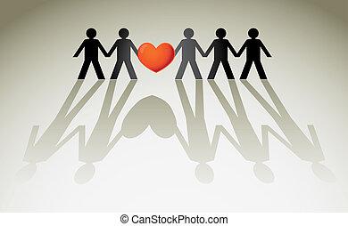 corazón, tenencia, -, ilustración, figuras, humano, rojo, ...