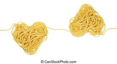 corazón, theme), ornamento, (valintine`s, muestra, pastas, día, lazo