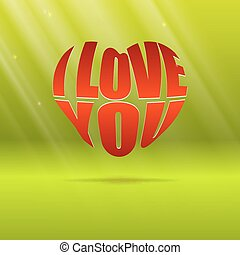 corazón, tipografía, forma, diseño, para, amor, símbolos