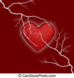 corazón, tormenta, fondo rojo
