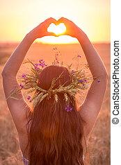 corazón, trigo, símbolo, joven, campo, ocaso, elaboración, niña