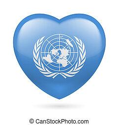corazón, unido, icono, naciones