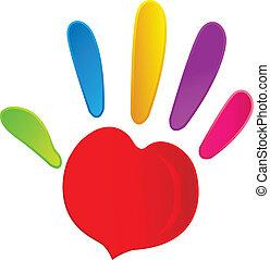corazón, vívido, logotipo, colores, mano