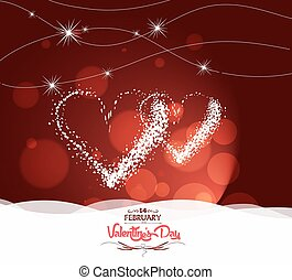 corazón, valentine, día, luz