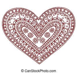 corazón, valentine, mehndi, tatuaje, alheña