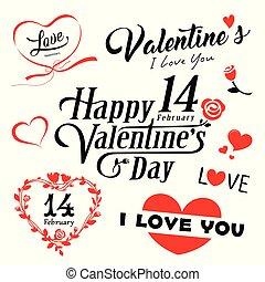 corazón, valentines, mensaje, día, rojo, feliz