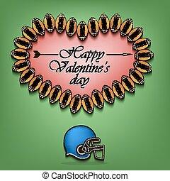 corazón, valentines, pelotas, día, fútbol