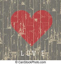 corazón, valentino, concept., eps10., wood., vector, día