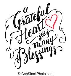 corazón, ve, muchos, bendiciones, agradecido, caligrafía