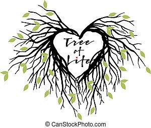 corazón, vector, árbol, vida