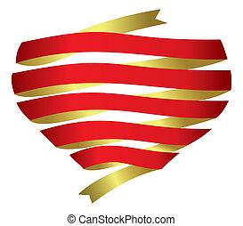 corazón, vector, bandera, cinta