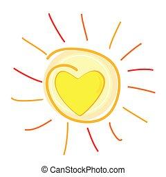 corazón, vector, centro, ilustración, sol