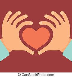 corazón, vector, forma, manos