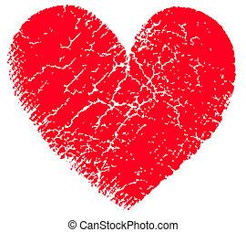 corazón, vector, grunge, rojo