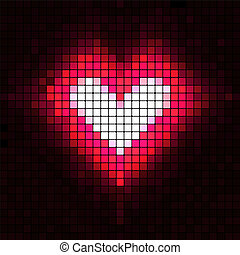 corazón, vector, illustration., mosaic.
