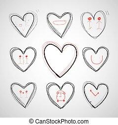 corazón, vector, mano, dibujado