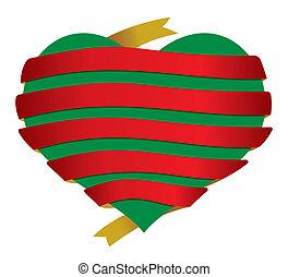 corazón, vector, navidad