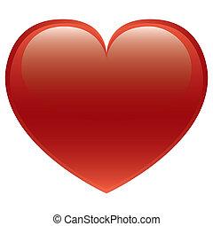 corazón, vector, rojo