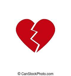 corazón, vector, roto