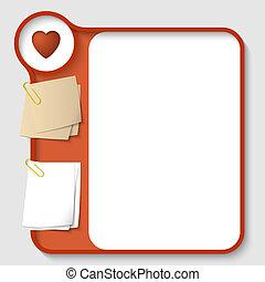 corazón, vector, texto, dos, clips, papel, marcos, ...