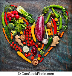 corazón, vegetales, forma, colección, fresco