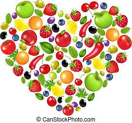 corazón, vegetales, fruta