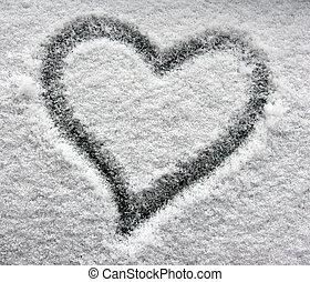 corazón, ventana, nevoso