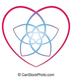 corazón, venus, flor