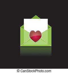 corazón, verde, colorido, correo