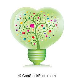 corazón, verde ligero, bombilla