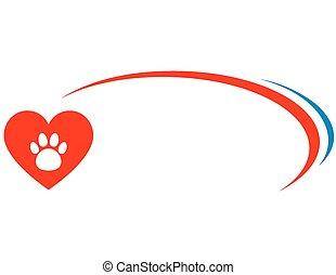 corazón, veterinario, plano de fondo