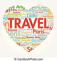 corazón, viaje, palabra, amor, nube