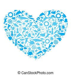 corazón, vida, marina