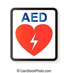 corazón, vida, rayo, ), (, imagen, automatizado, aed, básico, cardíaco, desfibrilador, apoyo, avanzado, externo