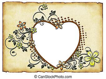 corazón, viejo, plano de fondo, forma, papel, ornamentos